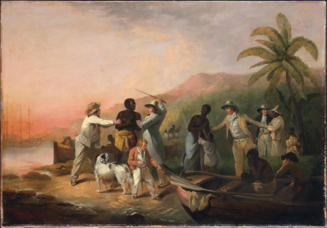 George Morland. Execrable Human Traffick, or The Affectionate Slaves. 1789. Oil on canvas. 85.1 x 121.9 cm.