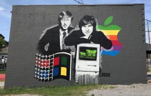 بيل غيتس وستيف جوبز- أسطورتان في عصر واحد (غرافيتي)